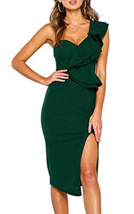 Women's Dresses Sexy Ruffle One Shoulder Sleeveless Split Bodycon Midi Party Dress