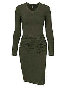Women's Ruched Bodycon Sundress Midi Fitted Casual Dress