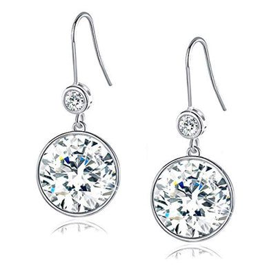 18K White Gold Sparkle Crystal Round Drop Hook Earrings Crystals from Swarovski for Women Girl Party Jewelry Elegant Gifts
