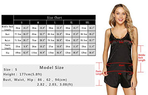 Womens Sexy Satin Lingerie Full Slip Chemise Silk Lace Short Pajama Set V-Necked Halter Sleepwear