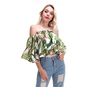 Summer Sexy 0ff Shoulder Women Shirts Vintage Leaf Print Boho Tee with Lining Shirts Casual Tops Female Blouses