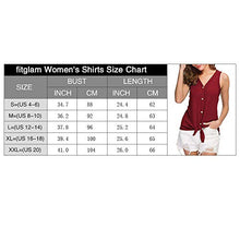Load image into Gallery viewer, Womens Waffle Knit Tunic Blouse Sleeveless Shirts Tie Front Button Down Loose Fitting Tank Tops