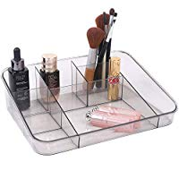 Vanity Tray Cosmetic Display Case Makeup Organizer Brush Holder for Bathroom Drawers Vanity Countertops, Crystal Gray Acrylic