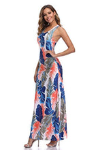 Load image into Gallery viewer, Women's Leaf Print Sleeveless Bodycon Tank Dress Maxi Dresses Beach Dress