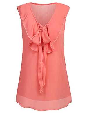 Women Chiffon V Neck Cami Tank Top Bowtie Sleeveless Casual Blouse Shirt