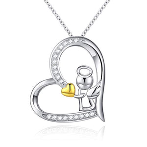 Guardian Angel Necklace for Women Daughter Lovers,18K Gold Plated Heart with Angel Wing Pendant Necklace - You are Never Alone with My Angel Jewelry Gift