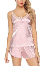 Load image into Gallery viewer, Womens Sexy Satin Lingerie Full Slip Chemise Silk Lace Short Pajama Set V-Necked Halter Sleepwear
