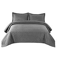 "Load image into Gallery viewer, 2 Piece Reversible Quilt Set Twin Size (68""x86"") - Grey Stitched Pattern - Soft Microfiber Lightweight Coverlet Bedspread for All Season - Grey Charcoal (Includes 1 Quilt, 1 sham)"