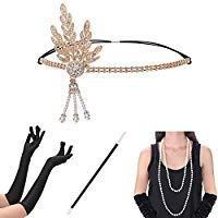 1920s Accessories Set Flapper Gatsby Costume Women Headband Gloves Necklace Earrings Cigarette Holder