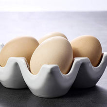 Load image into Gallery viewer, Ceramic 6 Cups Egg Tray - Half Dozen Stoneware Porcelain Egg Holder, Kitchen Restaurant Fridge Storage and Cookable Egg Porcelain Decorative Crate White