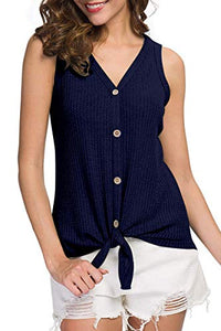 Womens Waffle Knit Tunic Blouse Sleeveless Shirts Tie Front Button Down Loose Fitting Tank Tops