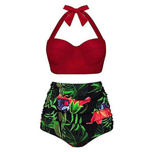 Women's High Waist Bikini Set Two Piece Swimsuits Tummy Control Bathing Suit