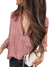 Load image into Gallery viewer, Women Casual Long Sleeve V Neck Polka Dots Print Tops Shirt Blouse Pullover