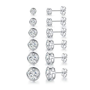 14K White Gold Plated Round Clear Cubic Zirconia Stud Earring Pack of 6 Pairs (6 Pairs)
