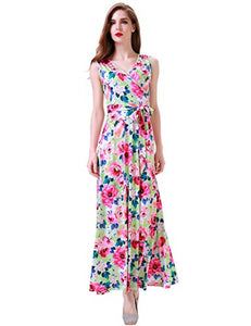 Women's Bohemian Sleeveless V Neck Faux Wrap Long Floral Maxi Dress