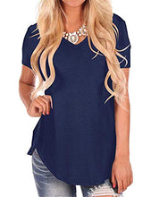 Load image into Gallery viewer, Women's Summer Short Sleeve Loose Casual V-Neck Tee T-Shirt Tops