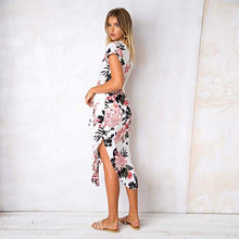Load image into Gallery viewer, Women Summer Casual Short Sleeve V-Neck Floral Slim Dress Dresses