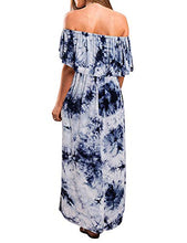 Load image into Gallery viewer, Women's Off Shoulder Summer Dresses - Floral Casual Long Ruffle Beach Maxi Dress with Pockets