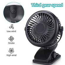 Load image into Gallery viewer, Clip On Fan Rechargeable Battery & USB Powered Clip Fan with 3 Speed and USB Cable 360° Rotation Low Noise Portable Mini Desk Fan for Baby Stroller Office Bedroom Dorm Study Car Camping Traveling