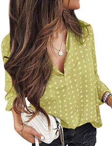 Women Casual Long Sleeve V Neck Polka Dots Print Tops Shirt Blouse Pullover