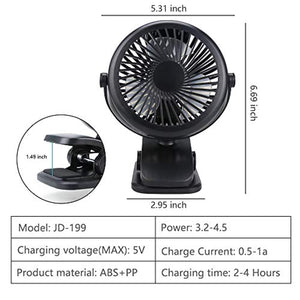 Clip On Fan Rechargeable Battery & USB Powered Clip Fan with 3 Speed and USB Cable 360° Rotation Low Noise Portable Mini Desk Fan for Baby Stroller Office Bedroom Dorm Study Car Camping Traveling