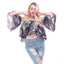 Load image into Gallery viewer, Summer Sexy 0ff Shoulder Women Shirts Vintage Leaf Print Boho Tee with Lining Shirts Casual Tops Female Blouses