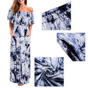 Women's Off Shoulder Summer Dresses - Floral Casual Long Ruffle Beach Maxi Dress with Pockets