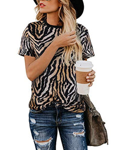 Leopard Short Sleeve Tops for Women Cute Casual T Shirts