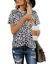 Load image into Gallery viewer, Leopard Short Sleeve Tops for Women Cute Casual T Shirts