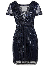 Load image into Gallery viewer, 1920s Short Prom Dresses V Neck Inspired Sequins Cocktail Flapper Dress