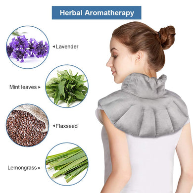 Microwavable Neck Wrap, Shoulder and Neck Heating Pad with Herbal Aromatherapy Heat and Cold Therapy for Stiff Neck