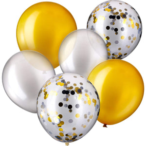 30 Pieces 12 Inches Latex Balloons Confetti Balloons for Wedding Birthday Party Decoration (Silver and Gold)