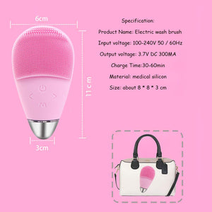 Sonic Silicone Facial Cleansing Brush Rechargeable IPX7 Waterproof Facial Cleaner