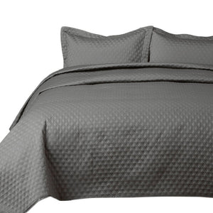 "2 Piece Reversible Quilt Set Twin Size (68""x86"") - Grey Stitched Pattern - Soft Microfiber Lightweight Coverlet Bedspread for All Season - Grey Charcoal (Includes 1 Quilt, 1 sham)"