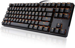 Orange LED Backlit Mechanical Gaming Keyboard Small Compact 87 Keys Metal Construction Mechanical Computer Keyboard USB Wired