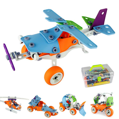 132Pcs, 5-in-1 DIY Creative Stacking Toys, Stem Learning Models Transform Car Airplane Building Kits, Educational Construction Engineering Toy 5+ Year Boys&Girls