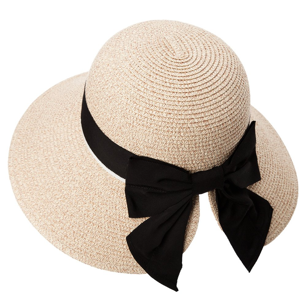 3ca3c9eb Load image into Gallery viewer, Womens Floppy Summer Sun Beach Straw Hat  UPF50 Foldable Wide ...