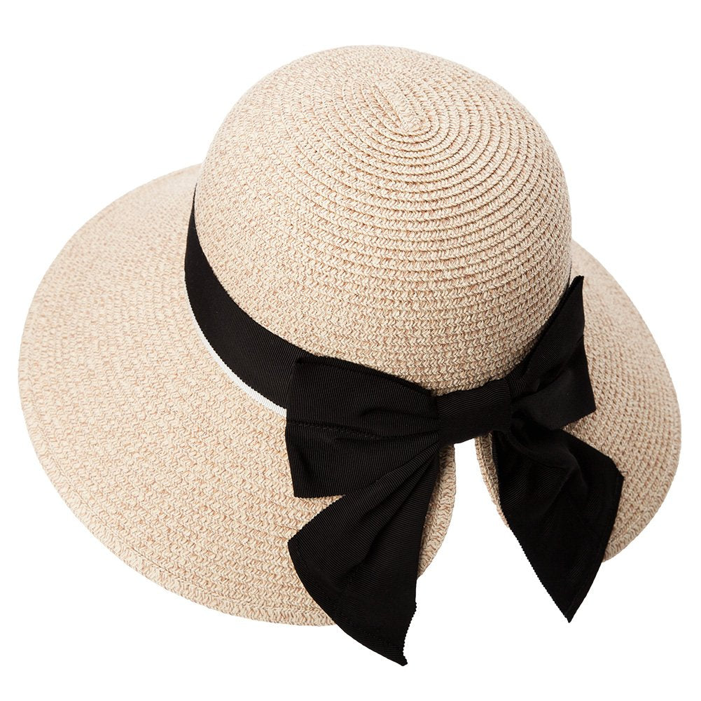869ec1677 ... Load image into Gallery viewer, Womens Floppy Summer Sun Beach Straw  Hat UPF50 Foldable Wide ...