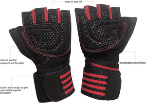 Ventilated Weight Lifting Gloves – Gym Workout Gloves - Full Palm Protection – Built-in Wrist Wraps-Ideal for Pull Ups, Weightlifting, Fitness.