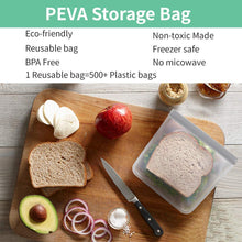 Load image into Gallery viewer, Reusable Sandwich Bags, 12 Pack BPA FREE Reusable Food Storage Bags, Food Grade Grade PEVA Reusable Freezer Bags Ziplock Bags