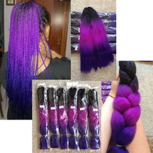 Load image into Gallery viewer, Braiding Hair 5 piece/lot 24 inch Braids 100g/piece Synthetic ombre Fiber Hair Extensions crochet braids …