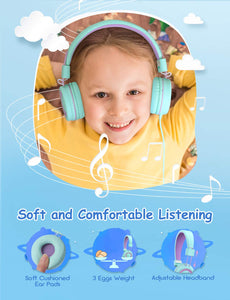 Kids Headphones (2-Pack), Foldable Wired Cord On-Ear Headsets, Safety Volume Limited, Comfortable and Durable