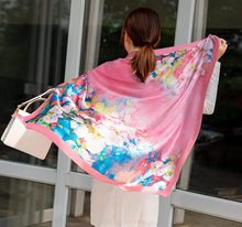 "Load image into Gallery viewer, 100% Silk Scarf - Gift Box Packaged 35"" Square or Oblong Large Silk Hair Scarf Wrap"