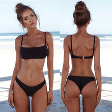 Load image into Gallery viewer, 2019 New Summer Women Solid Bikini Set Push-up Unpadded Bra Swimsuit Swimwear Triangle Bather Suit Swimming Suit biquini