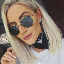 Load image into Gallery viewer, Fashion Sunglasses Women Brand Designer Small Frame Polygon Clear Lens Sunglasses Men Vintage Sun Glasses Hexagon Metal Frame