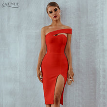Load image into Gallery viewer, Bodycon Bandage Dress Women Vestidos Verano 2019 Summer Sexy Elegant White Black One Shoulder Midi Celebrity Party Dresses