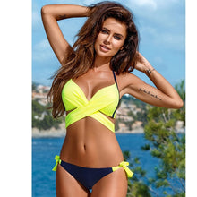 Load image into Gallery viewer, 2019 Sexy Bikini Women Swimsuit Push Up Swimwear Criss Cross Bandage Halter Bikini Set Beach Bathing Suit Swim Wear XXL