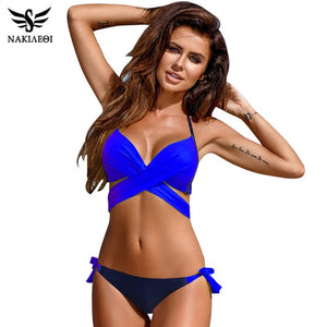 2019 Sexy Bikini Women Swimsuit Push Up Swimwear Criss Cross Bandage Halter Bikini Set Beach Bathing Suit Swim Wear XXL