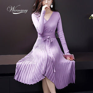 European Design Elegant Autumn Dress V-neck Women Casual Long Sleeve Knitted Dress Brand Fashion Pleated Ladies Dreses C-140