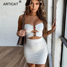Load image into Gallery viewer, Off Shoulder Pleated Sexy Dress Women Strapless Holllow Out  Bodycon Party Summer Dress Slim Backless Casual Beach Dress